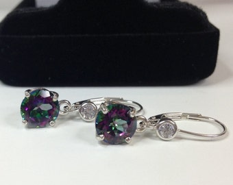 4.5ctw Genuine Topaz & White Sapphire Earrings Sterling Silver Brilliant Cut Round Mystic Topaz Earrings Rainbow Topaz Lever back Bride Wife