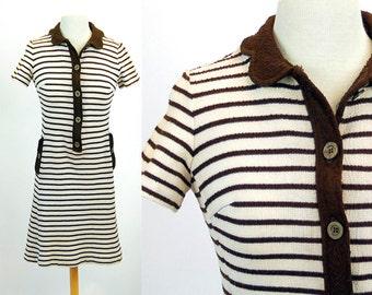 1960s dress, Leslie Fay dress, knit dress, mini dress, striped dress, brown white, Size S