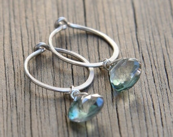 Silver Hoop and Mystic Quartz Earrings