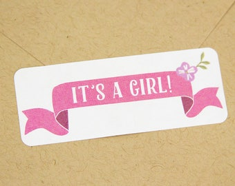 Its a girl stickers - It's a girl labels - Shower Stickers - Gender Reveal Stickers - Baby Shower Stickers - Baby Shower Favors