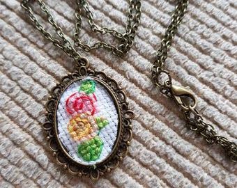 Antique Style Cross Stitch 2 Roses Pendant