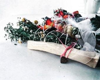 ORANGE ROSES Healing Love Wand/ Quartz  Crystal/ Palo Santo /Flower Smudge Stick /Smudge Kit/ Gift For Her