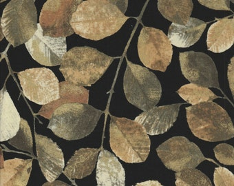 Shades of Autumn - Per Yd - PB Textiles - Norman Wyatt - Beyond Beautiful** Sm Leaves on Black