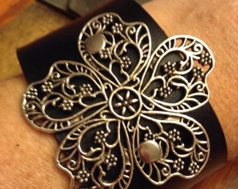 Leather Bracelet; Leather Cuff; Leather Wristband;  Silver Flower Bracelet; Silver Flower Cuff; Silver Flower Wristband