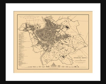 Rome Italy Map - Street Map - Sepia Print Poster - Vintage Map