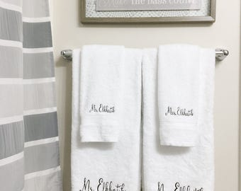 Monogrammed Towel - Wedding Gift - Newlywed Gift - Personalized Gift - His & Hers - Engagement Gift - Bath Towels - Mr And Mrs Gift -Present