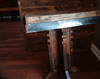 Tractor fork side table with antique rail car wood top