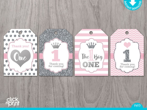 Pink and Silver Print Yourself Thank You Tags First Birthday