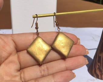 Gold Diamond Polymer Clay Drop Earrings