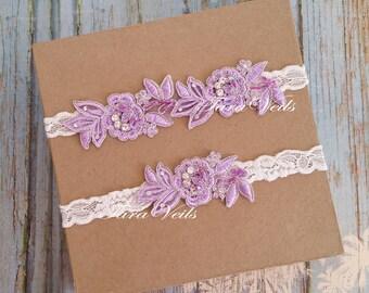 Wedding  Lavender garter/ Bridal / Rhinestone Garter/ Lavender Color Garter|wedding garters| bridal garter|Floral lace garter |Vintage