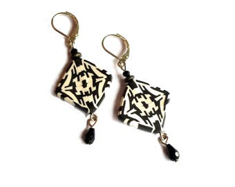 Black White Geometric Celtic Earrings, Polymer Clay Kaleidoscope Beads, Bridesmaid long Earrings, Artisan made, Valentines gift idea for her