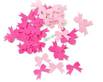 120 Mixed Pink Bow Cut-outs, Confetti - Set of 120 pcs