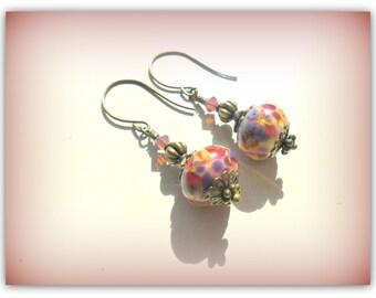 Floral Frit Lampwork Bead Earrings Swarovski Crystal Antique Gold Earrings Etsy UK Summer Jewelry Vintage Jewelry UK Shop