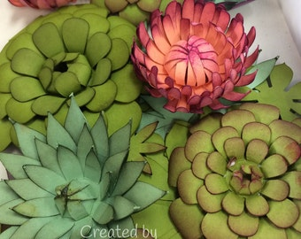 Pretty Paper Succulents SVG & PDF Files Succelents Succulent Garden