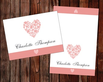 Wedding place cards (trio of  hearts) coral pink –DOWNLOAD PRINTABLE Microsoft word template DIY wedding place card rose heart, printable