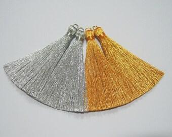 10 pieces Metallic Tassel, Mini Tassel, Gold metallic tassel, Silver metallic tassel, Wholesale Tassels, tassel earring, gold tassel, silver