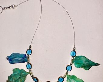 Translucent Ocean Colored Sculptured Necklace
