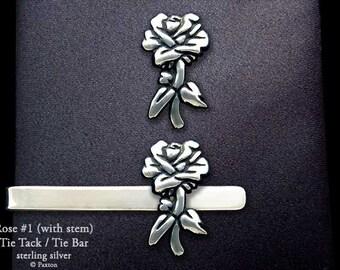 Rose Flower Tie Tack or Rose Flower Tie Bar / Tie Clip Sterling Silver