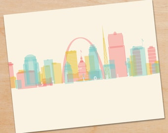 St. Louis Skyline Print, St. Louis Wall Art, St. Louis Print, St. Louis Art, skyline prints, wall art, skyline art, home decor, poster