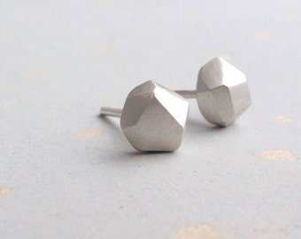Small Geometric Earrings - Silver Minimal Studs - Geometric Earrings - Everyday Jewelry