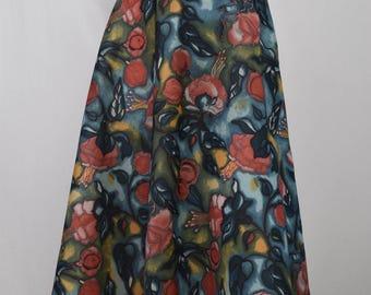 High Waisted 70s Floral Skirt