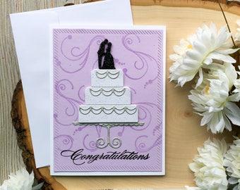 Handmade Wedding Card, Congratulations Card, Wedding Cards, Wedding Cake, Bride to Groom, Wedding Cake Card, Lavender, Greeting Card