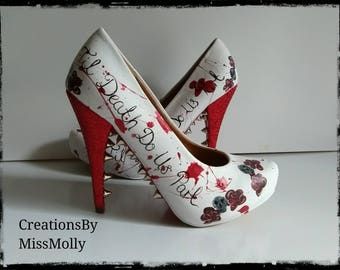 Customised Skull and Roses Shoes Wedding