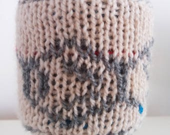 Serotonin Cup Sleeve, Knitted Cup Cozy, Coffee Mug Warmer, Eco-friendly, Molecular Structure, Science Gift, Chemistry Gift, Stick