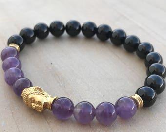 Protection bracelet, Black Tourmaline bracelet, Amethyst bracelet, Yoga bracelet, Yoga jewelry, boho bracelet, boho jewelry