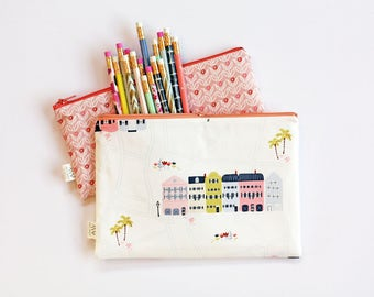 Houses Zipper Pouch, Pencil Bag, Purse Pouch, Cosmetics Bag, School Supplies, Gift For Her, Organizer, Coin Purse, Wallet, Bridesmaids Gift