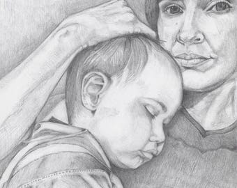 mother and child drawing