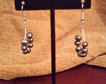 Freshwater Pearl Dangle Hoop Earrings