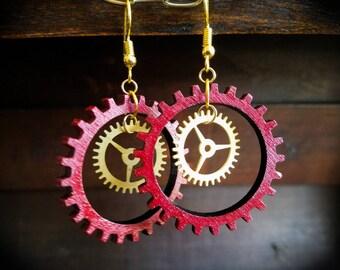 Steampunk Multi gear Earrings,Red and Black, Hand painted Jewelry, Hoop Earrings,Dangle Earrings,Steampunk, Gothic,Wood Earrings, Laser cut