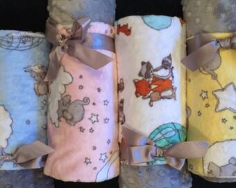 allagashangel Stroller Minky Blanket - Sweet Melody Designs Minky/Gray Minky Dot Backing