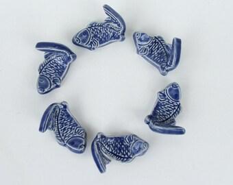 Ceramic ChopStick/ Pen Rests, Hand Made,  Set of 6, Koi