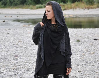 Cardigan, Wrap Jacket (two-ply) with Large Hood and Thumbholes ~ gray - black