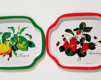 Small Metal Trays (2) Lemon and Strawberry Tip Tray Vintage Shabby