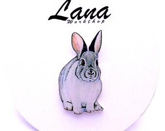 Gray Bunny, bunny brooch, pin Animal, brooch animal, jewelry , hare ,bunny jewelry, clay bunny, clay pin, present gift