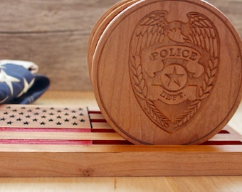 Law Enforcement Carved Wood Coasters - Set of 4 Police Drink Coasters - Coaster Set Made Of Solid Wood With United States Flag Base