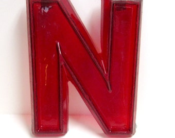 Vintage Translucent Red Plastic Marquee Letter N Wall Hanging 8 inch tall by 6 inch wide