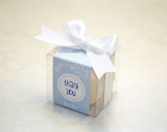 French Macaron Boxes, Baby boy Shower Favor, Boys Party Favors - 24 Favor Boxes