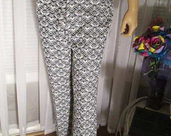 1970's Male Black/White Poly Knit SLACKS by Sears Give n Take Knitslak