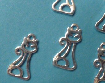 2 pcs 15 mm sterling silver filgree cat charm with 1 loop