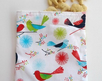 Spring and Summer Snack bag Reusable snack bag Sandwich bag with bright birds Earth day everyday Gift under 10 Picnic Lunch