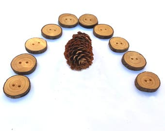 Wooden Buttons Sewing Knitting Handmade Wood Boho Buttons Eco Craft Supplies Eco Friendly Button Scrapbook Buttons 1 Inch, 2,5 cm, Set of 10