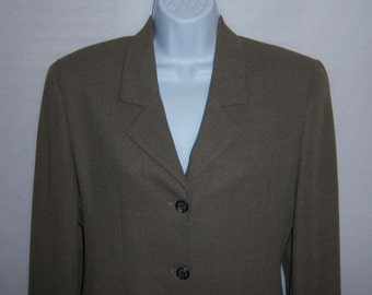 Vintage Burberry Burberrys Taupe Wool Blend Suit Jacket Blazer 6 Small Burberry's London Riding