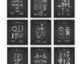 Beer Brewing Patent Prints Set of 9 - Brewery Patent Poster - Vintage Brewing Patent - Brewing Inventions -Beer Brewing Wall Art Poster