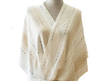 Cream Rayon Boucle Mobius Shawl with supplemental ribbons