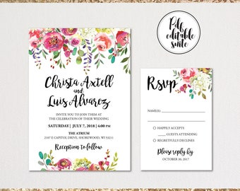 Wedding invitation template . Printable Wedding Invitation . Wedding Invitation Suite. Wedding Invitation Set. Printable PDF. Editable PDF