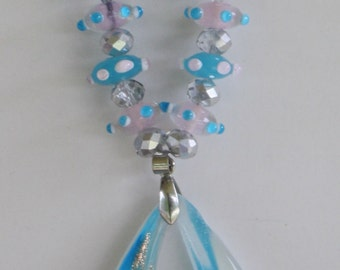 Turquoise and White Murano Glass Necklace